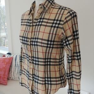 Burberry ladies button up cotton flannel shirt